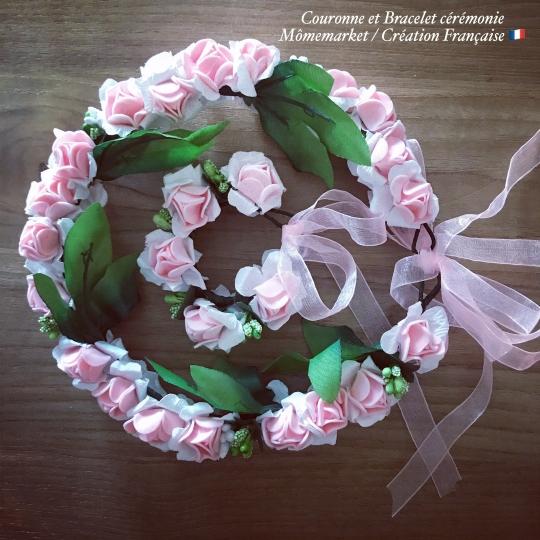 Couronne et bracelet de fleurs rose